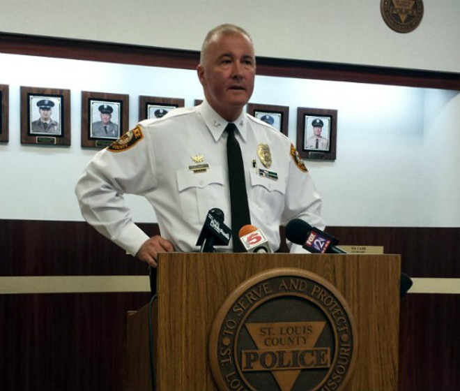 St. Louis County Police Chief Jon Belmar is promising to review Justice Department findings on his department. - JESSICA LUSSENHOP