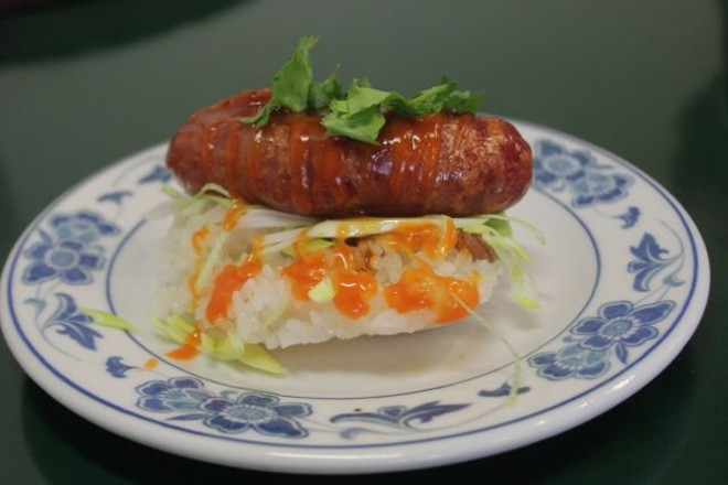 Taiwanese sausage with sticky rice. - PHOTO BY SARAH FENSKE