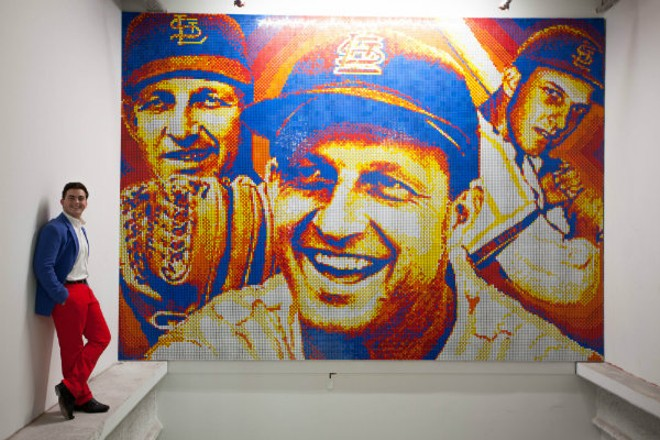 Connor Wright with his tribute to Stan and the Man — and the fine art of pointilism. - PHOTO COURTESY OF THE ST. LOUIS CARDINALS