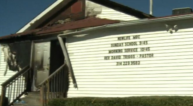 New Life Missionary Baptist Church was lit on fire on Saturday, making it the fifth of six church fires in less than two weeks. - IMAGE VIA ST. LOUIS REGIONAL CRIMESTOPPERS
