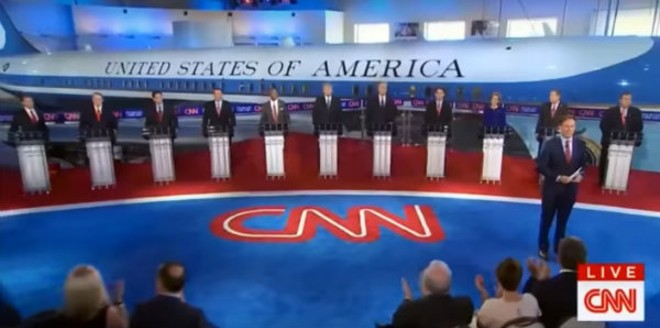 The first debate was on Fox News; the second, shown here, was on CNN. Last night they were on CNBC.