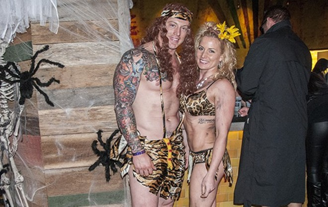Halloween revelers at last year's Ballpark Village party — $4,000 goes to the winning costume this year. - PHOTO BY CAROLINE YOO