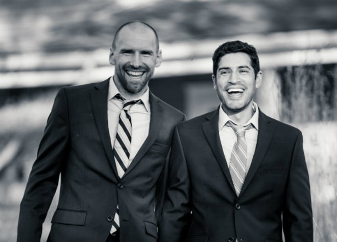 Shaun Murphy (left) and Aaron Lopez on their wedding day. - PHOTO BY BRIAN MENZ
