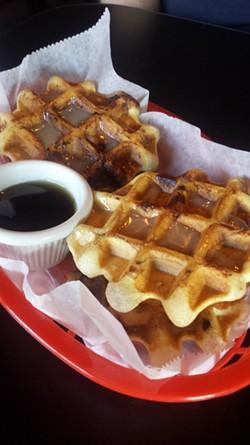 Brickyard's chicken-and-waffles slider. - PHOTO BY SAMANTHA DEVER