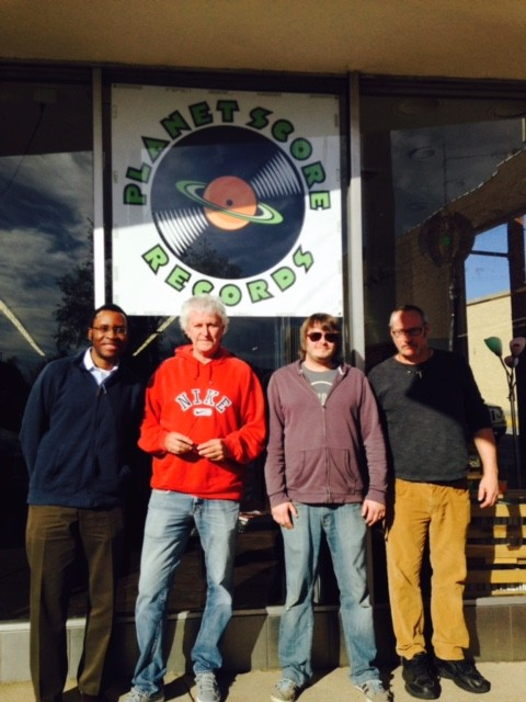 GbV fan Akin, Pollard, Stulce and Lohmann in front of the Planet Score Records sign - PHOTO BY HEATHER WOODSIDE