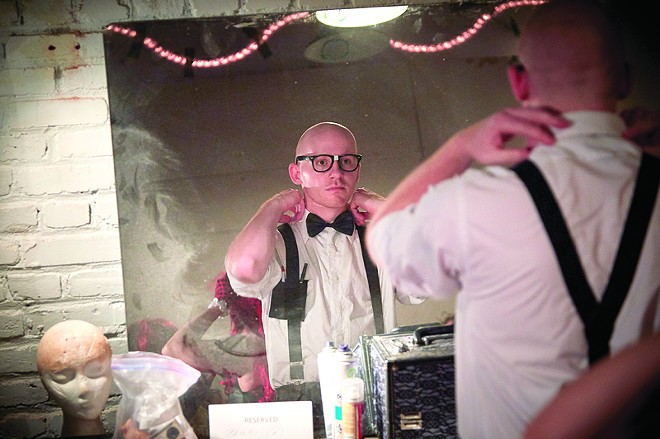 Undergoing transformation prior to a performance. - STEVE TRUESDELL