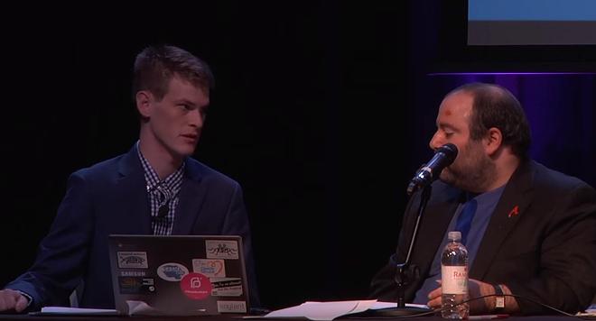 Mark Schierbecker, left, and his (now ex) publicist  Danielle Muscato at Skepticon 8. - VIA YOUTUBE