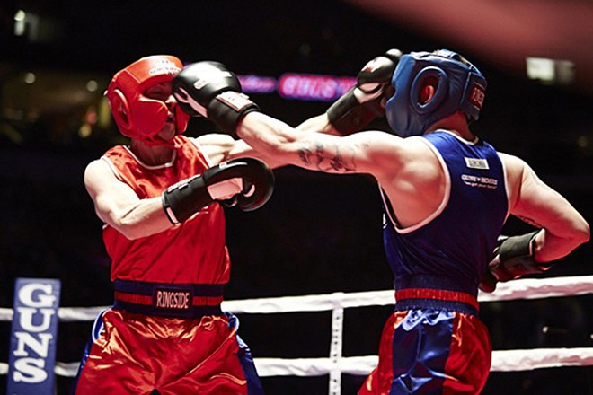 At Guns and Hoses, police take a few punches for a good cause.