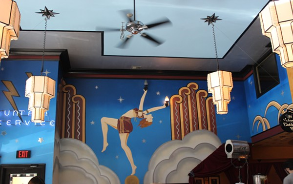 Gatsby-esque murals decorate the walls at the Fountain on Locust. - PHOTO BY LAUREN MILFORD