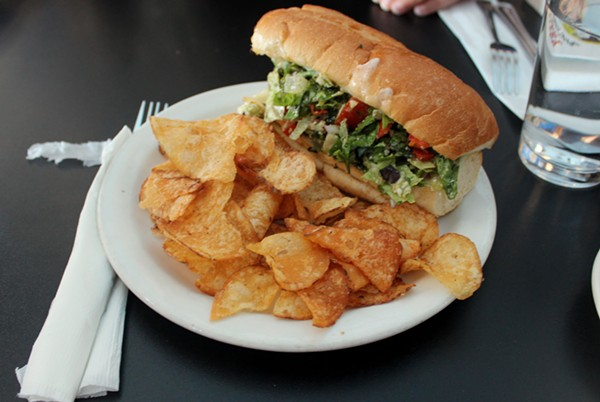 The mixed salad sandwich and chips. - PHOTO BY LAUREN MILFORD