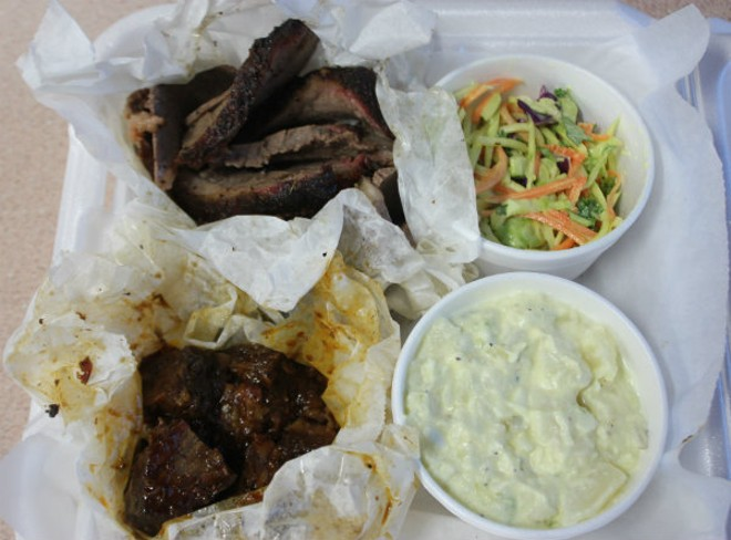 """A combo platter includes burnt ends and regular brisket, with """"Super Food Cole Slaw"""" along with Dixon's creamy potato salad. - PHOTO BY SARAH FENSKE"""