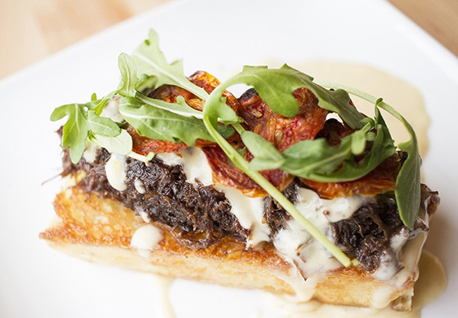 Braised beef cheek with oven-dried tomatoes, arugula, focaccia and foie-gras cream. - MABEL SUEN