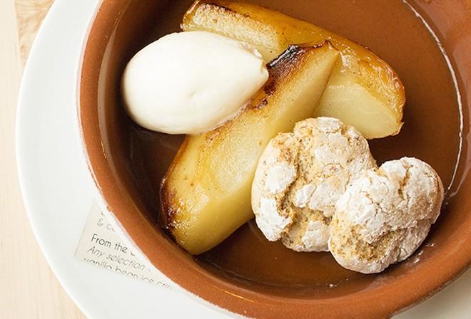 Roasted pears with mascarpone and ricciarelli. - MABEL SUEN