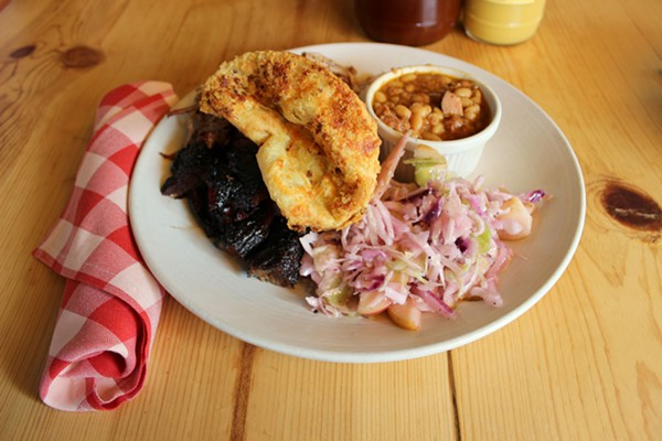 The bestie combo with pulled pork, burnt ends, cole slaw, pit beans and a popover. - PHOTO BY LAUREN MILFORD