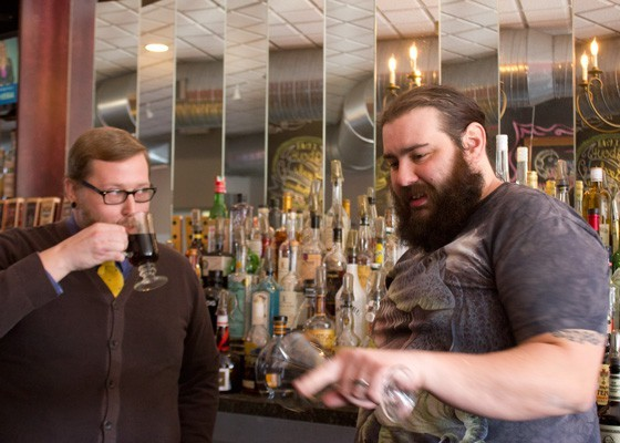Tony Saputo (right) swaps tips from Jeffrey Moll. - PHOTO BY NANCY STILES