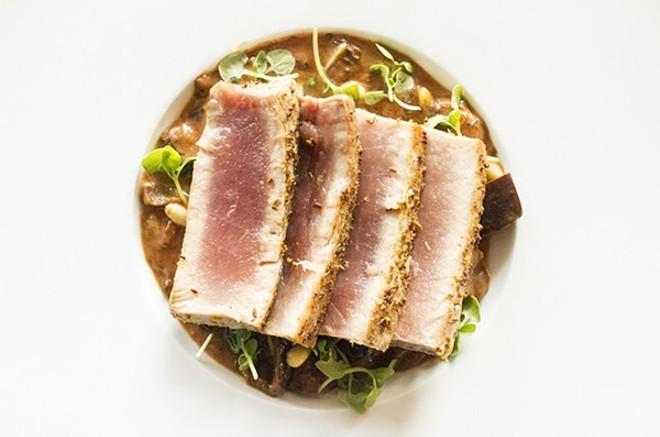 Seared tuna with smoked eggplant caponata at Randolfi's. - MABEL SUEN