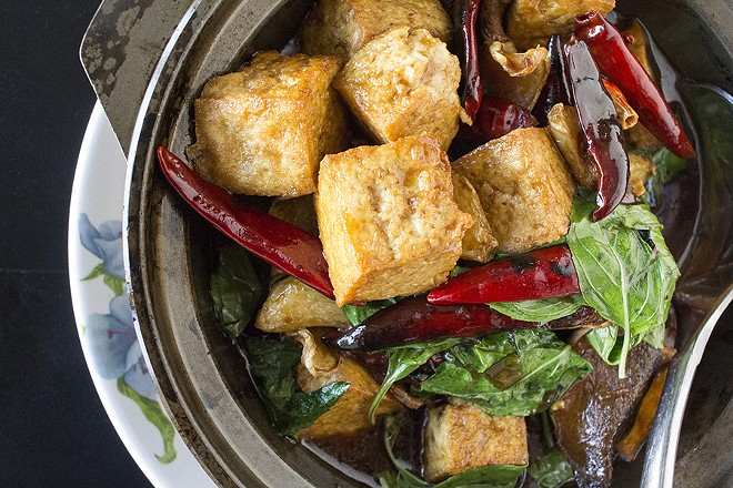 """""""Three Cup Tofu"""" is tossed in a sauce of rice wine vinegar, soy sauce and sesame oil. - PHOTO BY MABEL SUEN"""