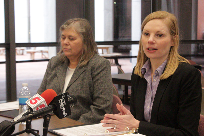 Missouri Auditor Nicole Galloway, right, said she's frustrated that Carpenter continues to defend her past actions. - DANNY WICENTOWSKI