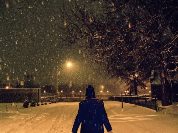 Oh, you know, just being artsy in the snow. - INSTAGRAM / BSCHERLISS