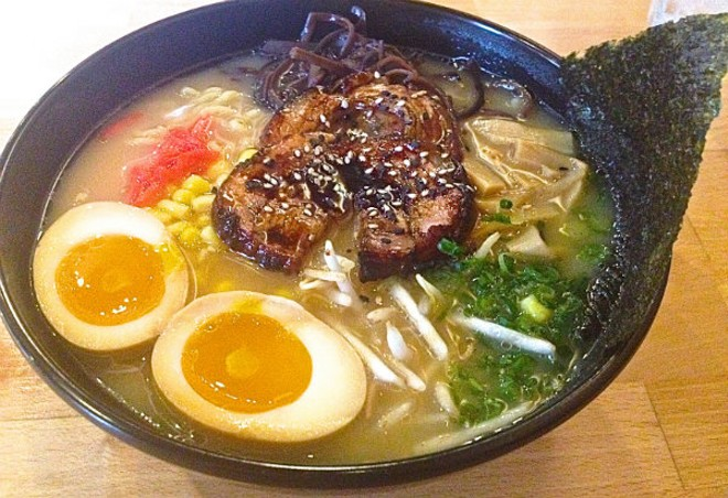 The Hakata Ramen with pork belly smoked right next door at Dixon's Smoke Co. - EMILY HIGGINBOTHAM