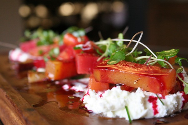 Beet salad with whipped Baetje Farms goat cheese - JOHNNY FUGITT