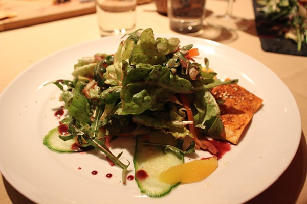 "The ""Eat Your Garden"" salad includes locally foraged greens. - PHOTO BY LAUREN MILFORD"