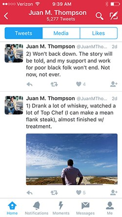 Thompson later deleted tweets referring to his claims of cancer treatments.