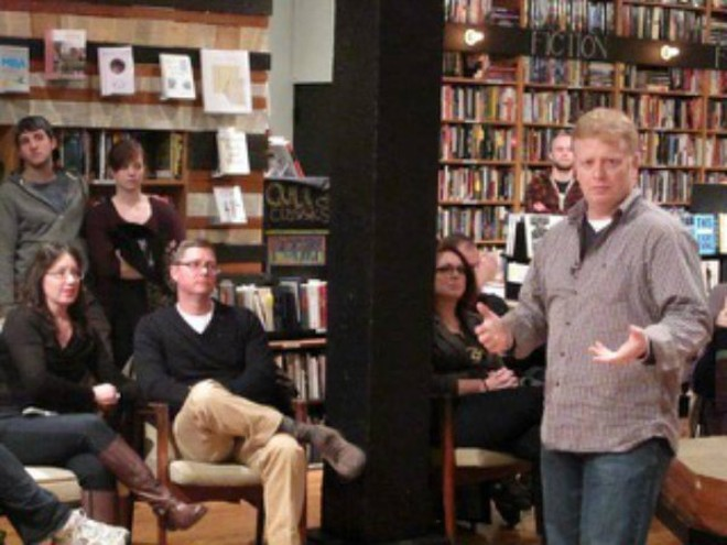 Trey Dowell speaking at a book signing in Indianapolis. - COURTESY OF TREY DOWELL