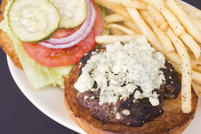 """Standard Brewing Company's black and blue burger"""" with fries. - PHOTO BY MABEL SUEN"""