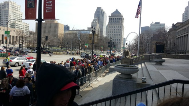 The crowd outside Peabody Opera House this morning. - PHOTO BY DANNY WICENTOWSKI