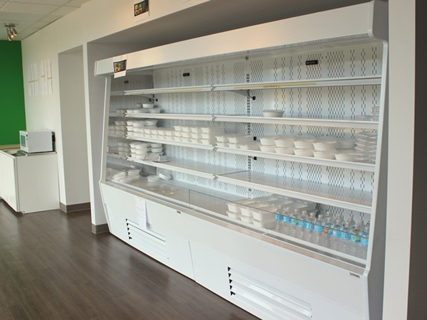 Not yet open, this display case will soon be filled lots of options for customers looking for a healthy meal. - PHOTO BY LAUREN MILFORD
