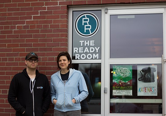 Mike Cracchiolo, left, with business partner Laura Sisul at their venue, the Ready Room. - PHOTO BY MABEL SUEN