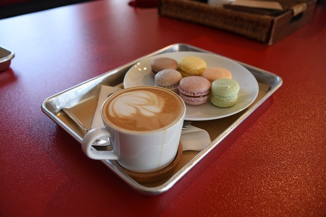 Macarons and coffee at Sucrose, newly opened in St. Charles. - PHOTO BY KEVIN KORINEK