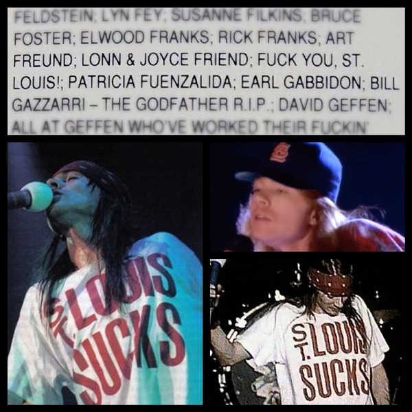 """Liner notes from Use Your Illusion I, screen capture from Don't Cry, two live video screengrabs in """"St. Louis Sucks"""" shirt"""