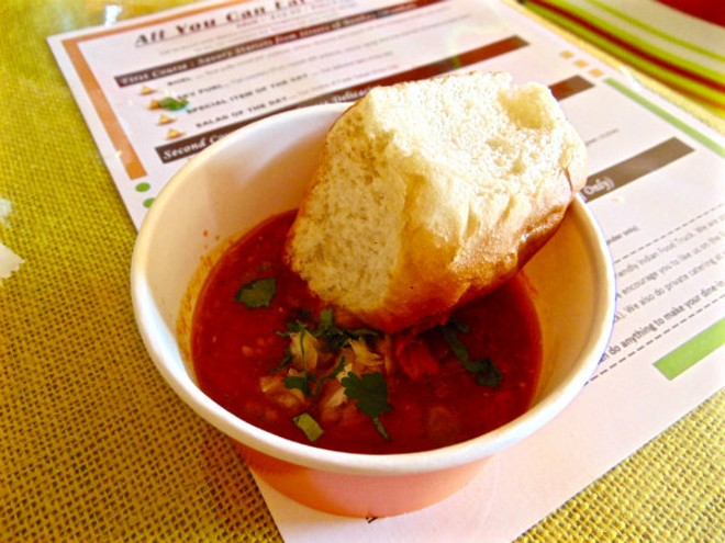 The third course includes the Pav Bhaji, a tomato-based vegetable soup served with a toasted roll. - EMILY HIGGINBOTHAM