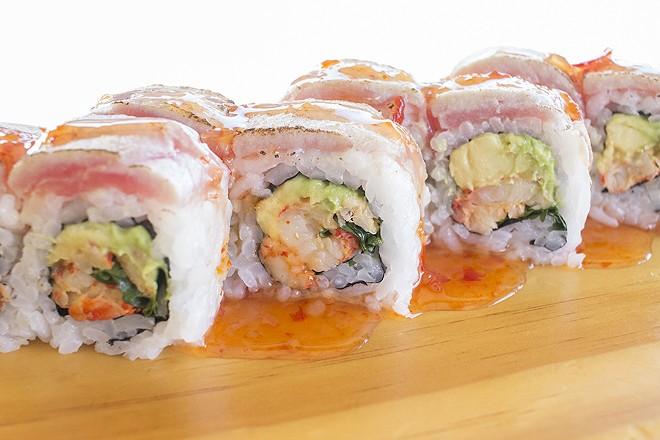 "The ""Fiesta Roll,"" which features tuna, avocado, cilantro, seared albacore and sweet chili sauce. - PHOTO BY MABEL SUEN"