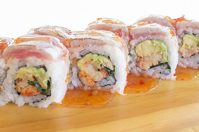 "The ""Fiesta Roll,"" which features tuna, avocado, cilantro, seared albacore and sweet chili sauce. - PHOTO BY MABEL SUEN"