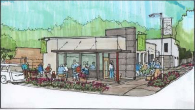 A rendering for 4066 Russell shows plans for a cafe in front of a former gas station, renovated into a home. - IMAGE VIA ST. LOUIS CULTURAL RESOURCES SUBMISSION