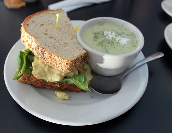 """The """"high hat"""" egg salad sandwich at the Fountain on Locust. - PHOTO BY LAUREN MILFORD"""