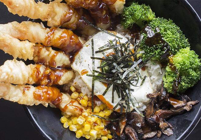 The tempura rice bowl features poached eggs, sliced nori, butter corn, shiitake mushrooms and tempura sauce. - PHOTO BY MABEL SUEN