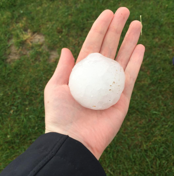 """Of course, we all had to play the """"my hail is bigger than your hail"""" game. We have to say, this hail in St. Charles was pretty impressive. - PHOTO COURTESY OF INSTAGRAM / STACIANN213"""