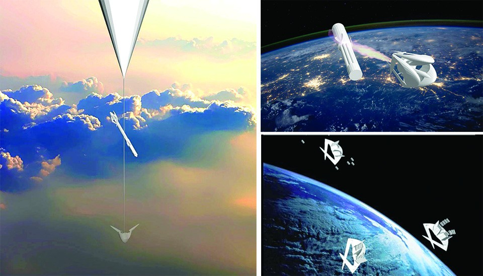 "A rendering shows one variation of the ""Boreas"" system: A balloon drags a rocket one-third of the way to space, and from there the rocket's all-plastic thrust system carries it into orbit. The rocket then releases ""Hyperion"" space planes, which disgorge payloads of miniature satellites. - COURTESY OF STOFIEL AEROSPACE"