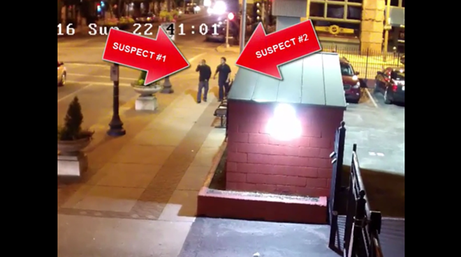Two suspects in the murder of Brandi Hill and kidnapping of her baby are shown in this video clip, St. Louis police say. - IMAGE VIA SLMPD/YOUTUBE