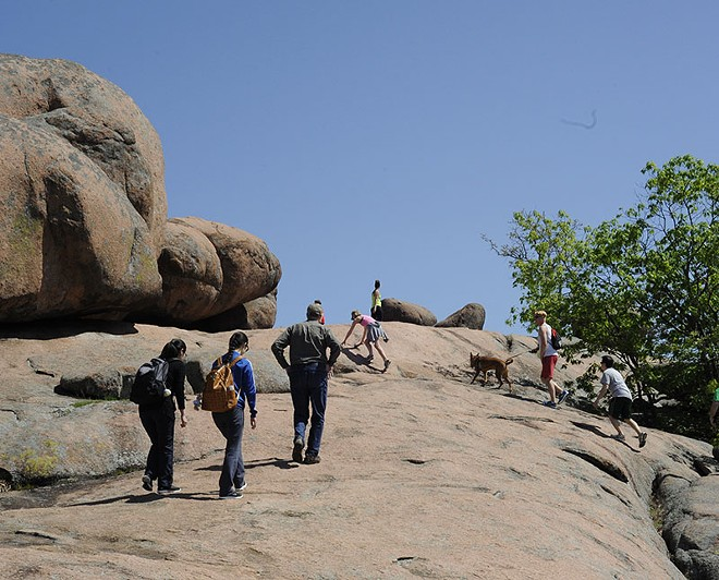Two designated trails at Elephant Rocks include a wheelchair-accessible one. - PHOTO BY KELLY GLUECK