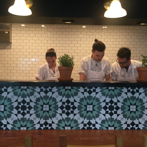 Chef Chris Bork works with his team in Vista Ramen's kitchen. Bork previously worked at Jeremy and Casey Miller's Mud House and Blood and Sand. - CASEY MILLER