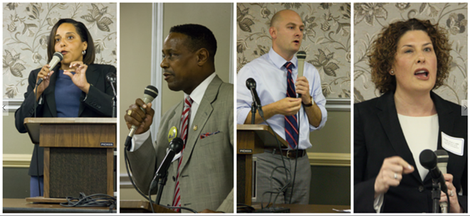 The Democratic candidates for St. Louis circuit attorney, from left to right: Kim Gardner, Steve Harmon Jr., Patrick Hamacher, Mary Pat Carl. All four spoke during a Democratic candidate forum on Tuesday. - PHOTOS BY DANNY WICENTOWSKI