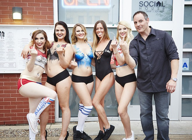John Racanelli with servers, at Social House II's grand opening on June 3. - PHOTO BY STEVE TRUESDELL
