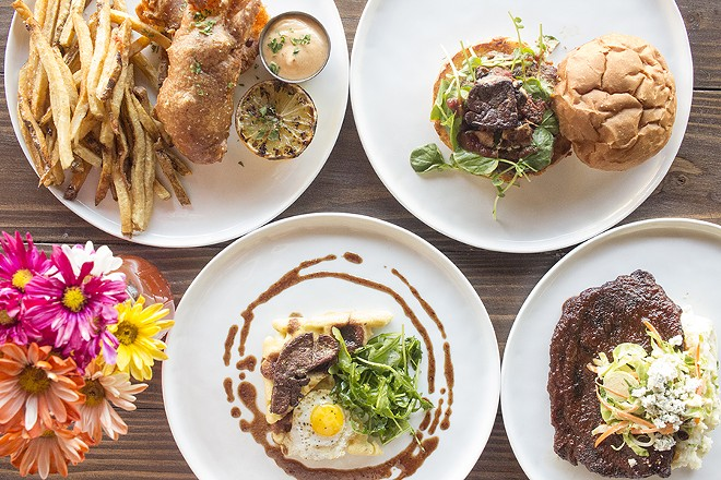 A selection of dishes from the Muddled Pig: fish 'n' chips, the Muddled burger, foie 'n' waffles and pork steak. - PHOTO BY MABEL SUEN