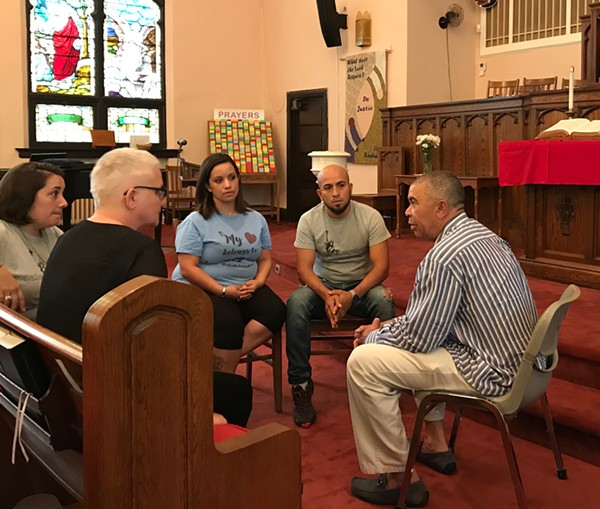 Rep. Clay meets in May 2018 with Alex and Carly Garcia, as well as Sara John of the St. Louis Inter-Faith Committee on Latin America and Revered Rebecca Turner (left) of Christ Church. - CAMILLE RESPESS