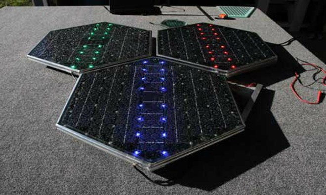 These hexagon plates will be install on a section of Route 66 in Conway, Mo. - SOLAR ROADWAYS